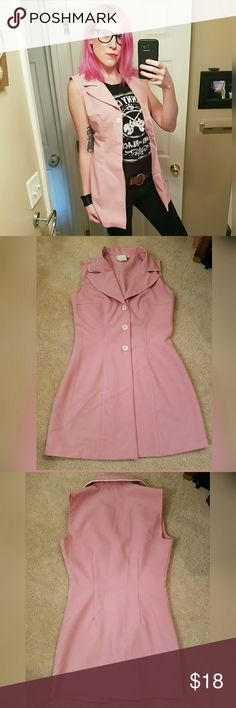 Pretty and pink, VINTAGE dress!! Love this. Can be worn as a mini dress or long vest. Excellent condition. Brand is B'Zone. Size is 3/4. Would fit a 0/2. 100% polyester. Vintage Dresses Mini