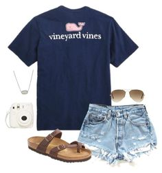 """""""•vineyard vines•"""" by simply-preppy-girl ❤ liked on Polyvore featuring Vineyard Vines, Kendra Scott, Ray-Ban and Birkenstock"""