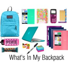 S in my backpack organization tips what's in my backpac School Backpack Essentials, Back To School Essentials, Middle School Supplies, College School Supplies, School Kit, School Ideas, Backpack Organization, School Organization, Schul Survival Kits