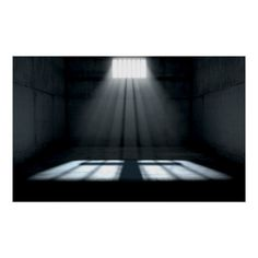 A jail cell interior with a barred up window and light rays penetrating through it casting an image of a crucifix Size: x Color: sunshine. Material: Value Poster Paper (Matte). Episode Interactive Backgrounds, Episode Backgrounds, Jail Cell, Prison Cell, Shadow Architecture, Netflix Horror, Window Poster, Gothic Anime, Arquitetura