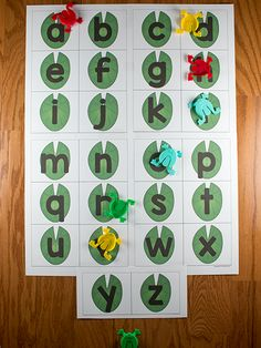 This Jumping Frog Alphabet Game is a fun way to practice letter identification or beginning sounds. Free printable letter mats in uppercase and lowercase. Frogs Preschool, Preschool Letters, Kindergarten Literacy, Preschool Crafts, April Preschool, Frog Crafts, Preschool Curriculum, Preschool Learning, Toddler Crafts
