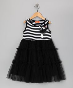 Take a look at this Black Stripe Ruffle Empire-Waist Dress - Girls on zulily today!