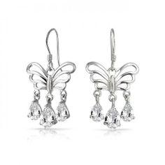 Filigree Butterfly Triple Teardrop CZ Dangle Earrings Sterling Silver