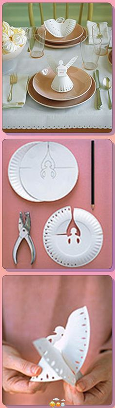 DIY angel place settings made from paper plates…. DIY angel place settings made from paper plates…. Kids Crafts, Christmas Crafts For Kids, Holiday Crafts, Christmas Holidays, Diy And Crafts, Craft Projects, Arts And Crafts, Christmas Decorations, Xmas