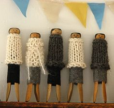 Knit clothes pin people!
