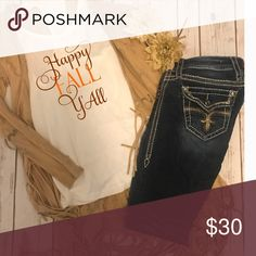 Happy fall y'all tank Perfect tank for a warm fall or pair with a sweater! J Elizabeth Tops Tank Tops