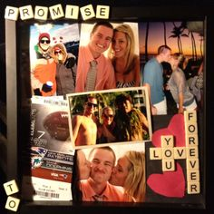 Shadow box I made for our first year together. Memories and words made out of bananGrams tiles-- our favorite game :)