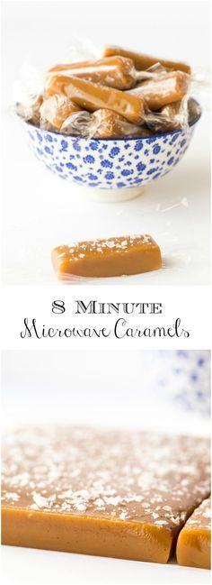 8 Minute Microwave Salted Caramels - Crazy delicious homemade caramels in less than 15 minutes (hands on time)! Everyone who tries them will be begging for more!