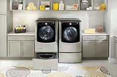 Complete #Laundry Pair Including Front Loading Washer, ELECTRIC Dryer #with Steam, and 2 Matching Storage Pedestals (WM5000HWA + DLEX5000W + WD100CW + WDP4W) TWIN...
