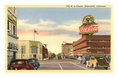 Old Time Photo of Bakersfield, California. Check out the huge Coca-Cola Sign! Vintage Travel Posters, Vintage Postcards, Vintage Images, Coca Cola, Bakersfield California, Northern California, Radios, Old Time Photos, Art Deco