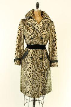 60s Leopard Coat Small / 1960s Faux Fur Coat / by CrushVintage