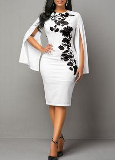 Women'S White Back Slit Cape Sleeve Sheath Cocktail Party Dress Floral Printed Round Neck Midi Dress By Rosewe Printed Cape Sleeve Back Slit Sheath African Wear Dresses, Latest African Fashion Dresses, African Print Fashion, Women's Fashion Dresses, Dress Outfits, Fashion Clothes, Elegant Dresses, Sexy Dresses, Sheath Dresses