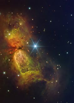 Star forming region S106: Massive star IRS 4 is beginning to spread its wings. Born only about 100,000 years ago, material streaming out from this newborn star has formed the nebula dubbed Sharpless 2-106 Nebula (S106)