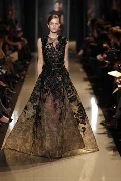 Elie Saab Couture Spring 2013 - brown and black is elegant!