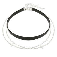 Double Cross Layered Gothic Choker Collar Necklace Made in Korea #WannaBeStones #Choker