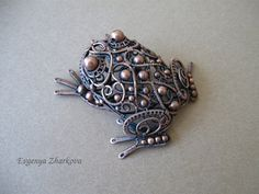 Some lovely jewelery work to look at - not just this one... Toad by Appelsinium on Etsy, $250.00