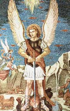 "A mosaic of St. Michael, the Archangel, in the monastery church of ""Our Lady of Grace"" where Padre Pio celebrated Mass for many years. Spiritual Images, Religious Images, Religious Art, Catholic Art, Catholic Saints, All Archangels, Saint Gabriel, Church Of Our Lady, A Course In Miracles"