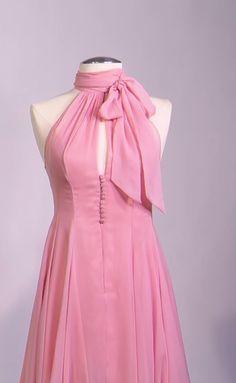 Dakota Johnson Mark Bridges (Costume Designer) Custom Made Pink Chiffon Halter Dress from Fifty Shades of Grey | TheTake