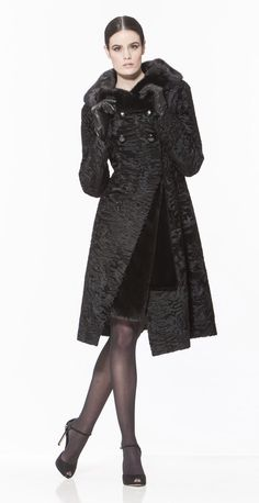 Braschi Black Swakara Lamb and Blackglama Mink Fur Coat