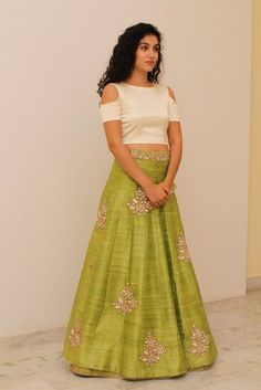 Beige crop top with green embroidered lehenga. Delivery will require approximately 4 weeks as the product is customised. Once your order is Indian Attire, Indian Wear, Ethnic Fashion, Indian Fashion, Indian Dresses, Indian Outfits, Salwar Kameez, Saris, Costumes Anarkali