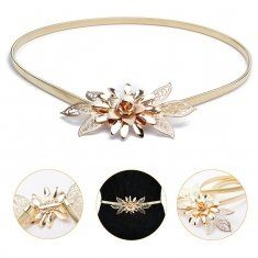 Women Golden Metal Flower Elastic Stretch Waist Belt Strap Cummerbund Dress Waistband