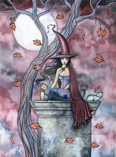 Fairy Print - Autumn Mystique Fantasy Art Print 5 x 7 Archival Giclee Print by…
