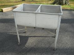 Vintage Antique Primitive Galvanized Metal Double Laundry Wash Tub ! | EBay