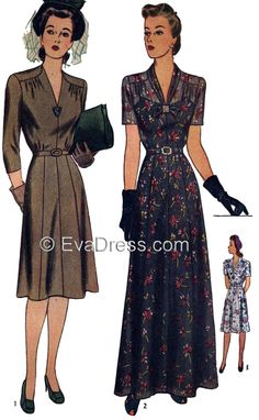 1943 Evening or Day Frock from Eva Dress