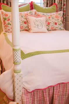 Andrika King Design | hand-painted poster bed | pinks & greens | monogram