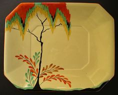 """Carlton Ware Art Deco Pottery """"Autumn Trees and Fern"""" Pattern Belle Epoque, Pottery Art, Antique Pottery, Old Plates, English Pottery, Art Deco Movement, Carlton Ware, Chevron Patterns, Antique Perfume Bottles"""
