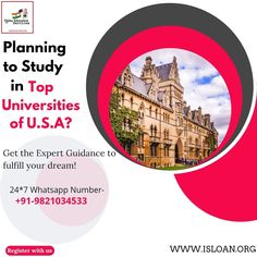 Paras education services is backbone of your financial support,choose us and let us guide you step by step in your dreams. For all your queries contact us on:- Visit our website and get yourself registered-www.isloan.org Email us on- info@isloan.org Usa University, You Got This, Let It Be, Top Universities, Dreaming Of You, Study, Dreams, How To Plan, Education