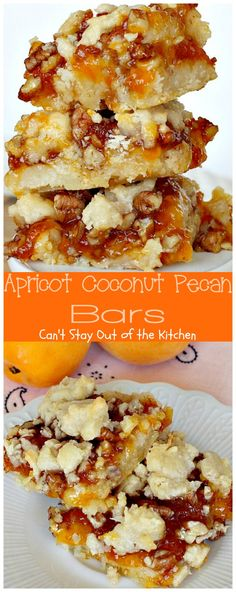 Apricot Coconut Pecan Bars - Can't Stay Out of the Kitchen Cream Cheese Cookies, Cookies Et Biscuits, Bar Cookies, 13 Desserts, Delicious Desserts, Finger Desserts, Yummy Food, Cookie Recipes, Dessert Recipes