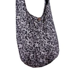 """BTP! Thai Cotton Hippie Hobo Sling Crossbody Bag Messenger Purse Floral Mosaic Printed in Black XL MO1. Brand new with Tag """"BenThai Products"""" in Original Packaging & Signature gift. handmade with 100% cotton with lining. Size: 19"""" wide by 14"""" deep by 8"""" base, 44"""" end to end shoulder strap. The zippered compartment, wood button clap and a zippered inside pocket."""