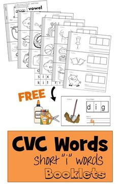 FREE CVC Words short i word booklet helps preschool, kindergarten, 1st grade learn simple words by coloring, cut and paste, writting, and reading