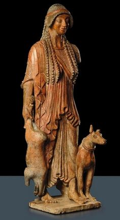 Goddess Diana,Terracotta statue - Diana is showing hunter, form ancient Etruscan culture from İtaly, circa 2nd-1st c. BCE