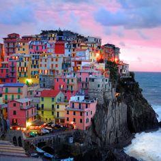 "Manarola photograph - 4x4"" Cinque Terre photo Italy sunset ocean Mediterranean village breaking waves - Cinque Terre Sunset - ita0009-4x4. $4.00, via Etsy."