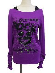 Barbed Wire Skull Shirring Long Sleeve T-Shirt Purple. See more at: http://www.cdjapan.co.jp/apparel/superlovers.html #harajuku #SUPERLOVERS