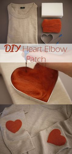 #DIY Heart Elbow Patch. I love that these elbow patches are felted, rather than just a plain iron-on. #creativeliving #tastebluebook