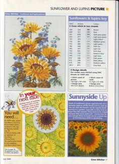 Sunflower and lupins Cross Stitch Love, Cross Stitch Flowers, Cross Stitch Designs, Cross Stitch Patterns, Flower Chart, Flower Patterns, Cross Stitching, Cross Stitch Embroidery, Types Of Embroidery
