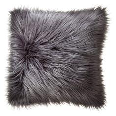 Home Fur Toss Pillow, Grey