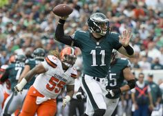 Carson Wentz #11 of the Philadelphia Eagles passes the ball against Danny Shelton #55 of the Cleveland Browns in the first quarter at Lincoln Financial Field on Sept. 11, 2016 in Philadelphia.