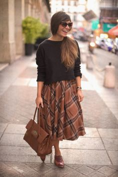 I couldn't do this much volume on top+bottom, but I love the full skirt with Oxfords, bag, and the sweater
