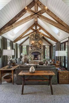 Whimsical lakeside cottage retreat with cozy interiors on Lake Keowee THIS CEILING. Not the decor so much. Whimsical lakeside cottage retreat with cozy interiors on Lake Keowee - Add Modern To Your Life Lakeside Cottage, Rustic Cottage, Cottage Ideas, Modern Cottage Decor, Lakeside Lodge, Lakeside Living, Farm Cottage, Cottage Interiors, Cottage Homes