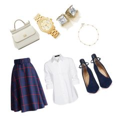 """""""plaid and white"""" by angelflames on Polyvore featuring Chicwish, Steffen Schraut, Christian Louboutin, Dolce&Gabbana, Michael Kors and Tory Burch"""