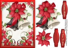 A lovely card with Beautiful Christmas Bells has two greeting tags and a blank one