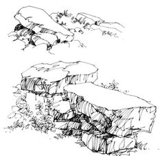 Best landscape sketch simple to draw 56 ideas Plant Sketches, Art Drawings Sketches, Realistic Drawings, Landscape Sketch, Landscape Drawings, Cool Landscapes, Nature Sketch, Nature Drawing, Drawing Rocks