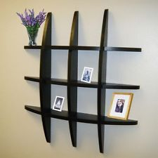 Black Display Floating Wall Shelf Shelves Grid Storage Ledge Home Decor NEW