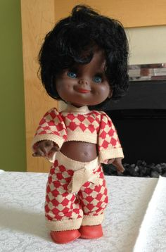VINTAGE RARE EL GRECO EL GRE CO BLACK DOLL 1970S CHEEKY SMILE WITH DIMPLES 9.99+4