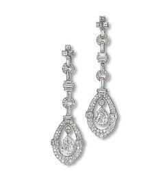 Diamond Earing, Diamond Pendant, Pear Shaped Diamond, Diamond Cuts, Art Deco Jewelry, Vintage Jewelry, Leather Case, Grey Leather, Art Deco Diamond