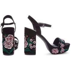 Black Suedette Floral Embroidered Platform Heels (1.080 CZK) ❤ liked on Polyvore featuring shoes, pumps, black shoes, black platform shoes, kohl shoes and platform shoes